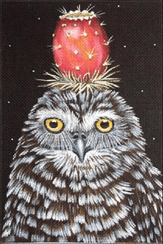 Prickly Pear Owl Painted Canvas Vicky Sawyer