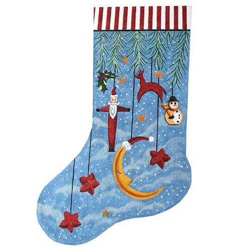 Primitive Ornament Stocking with Moon Painted Canvas The Meredith Collection