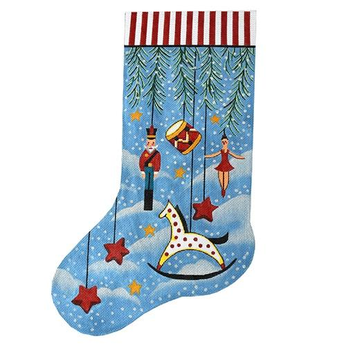 Primitive Ornament Stocking with Rocking Horse Painted Canvas The Meredith Collection