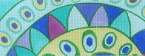 Pucci Waves & Dots - Green & Blue Painted Canvas Kate Dickerson Needlepoint Collections