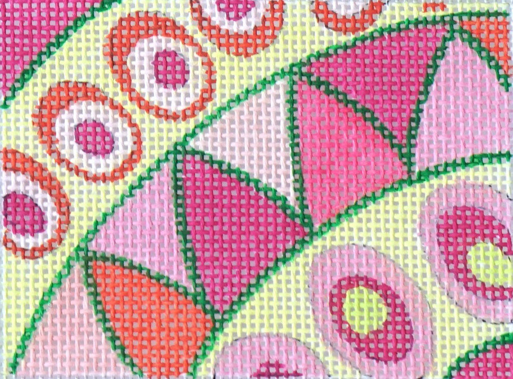 Pucci Waves & Dots - Pinks & Greens Painted Canvas Kate Dickerson Needlepoint Collections