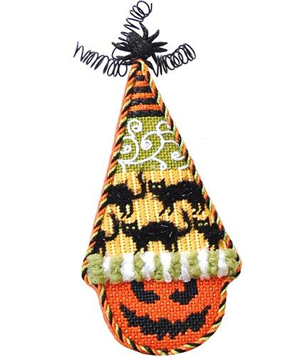 Pumpkin Cones - Black Cats with Stitch Guide Painted Canvas Kirk & Bradley