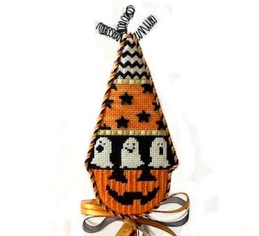 Pumpkin Cones - Ghosts with Stitch Guide Painted Canvas Kirk & Bradley