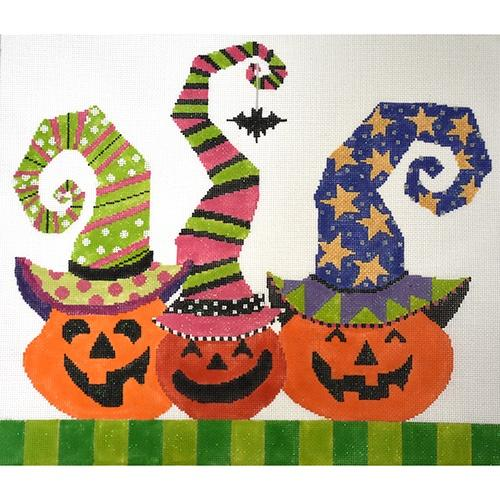 Pumpkin Patch Trio - Bat Painted Canvas The Meredith Collection