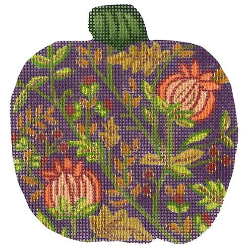 Purple Pumpkin with Thistle Painted Canvas Alexa Needlepoint Designs