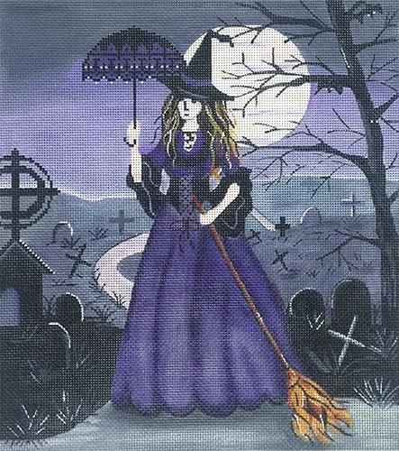 Purple Witch in Cemetery Painted Canvas Alice Peterson