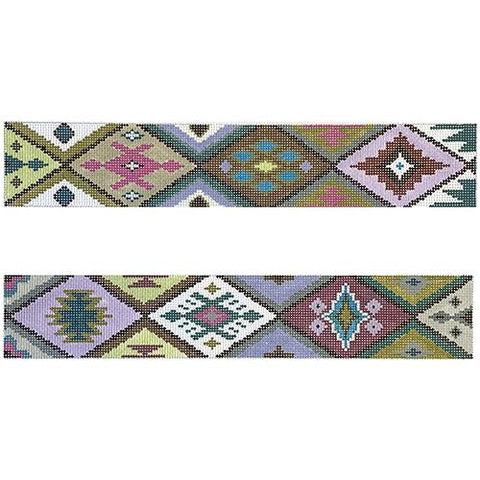 Purple/Green/Brown Purse Borders Painted Canvas Colors of Praise
