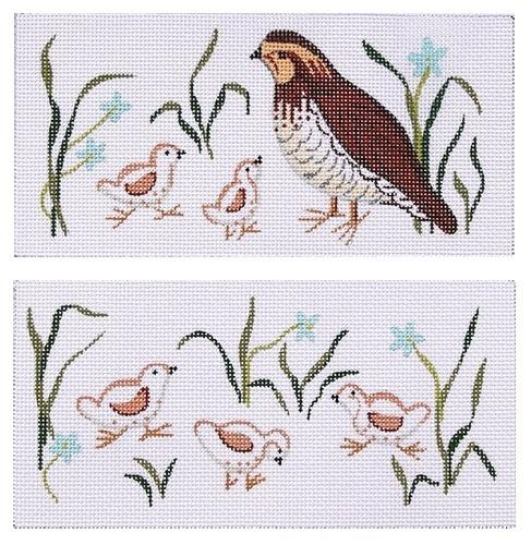 Quail Family Eye Glass Case Painted Canvas Kate Dickerson Needlepoint Collections