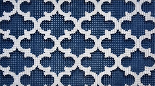 Quatrefoil Bolster Navy / Cream Painted Canvas Associated Talents