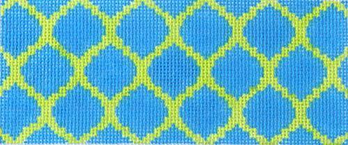 Quatrefoils - Cobalt on Lime Painted Canvas Kate Dickerson Needlepoint Collections