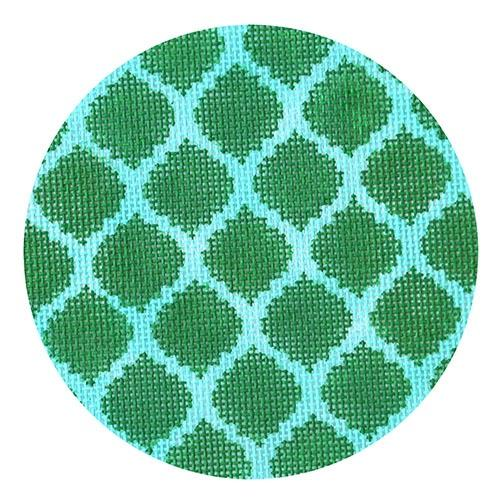 Quatrefoils - Emerald on Aqua Painted Canvas Kate Dickerson Needlepoint Collections