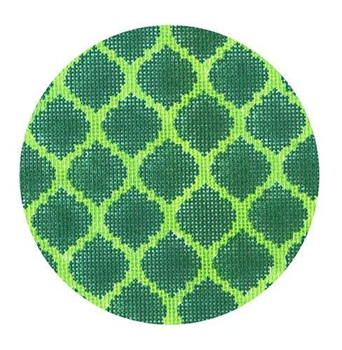 Quatrefoils - Emerald on Lime Painted Canvas Kate Dickerson Needlepoint Collections