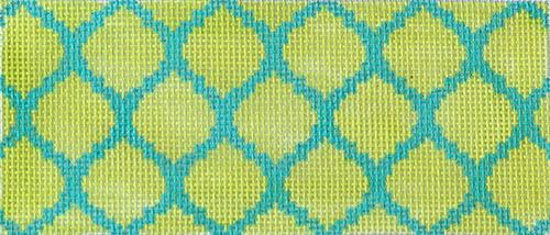 Quatrefoils - Lime on Turquoise Painted Canvas Kate Dickerson Needlepoint Collections