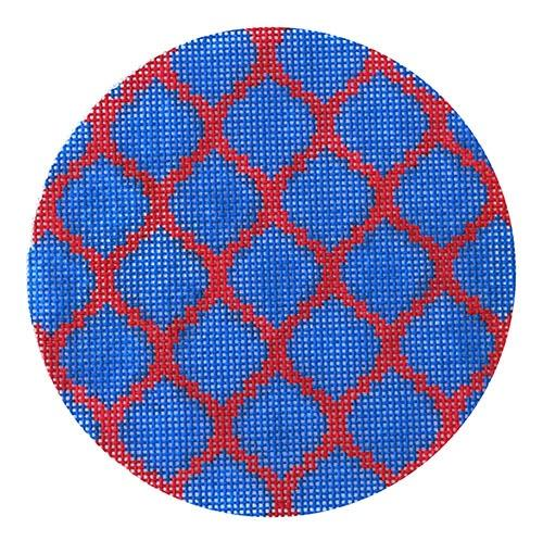 Quatrefoils - Red on Blue Painted Canvas Kate Dickerson Needlepoint Collections