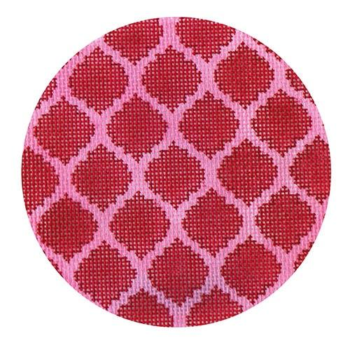 Quatrefoils - Red on Hot Pink Painted Canvas Kate Dickerson Needlepoint Collections