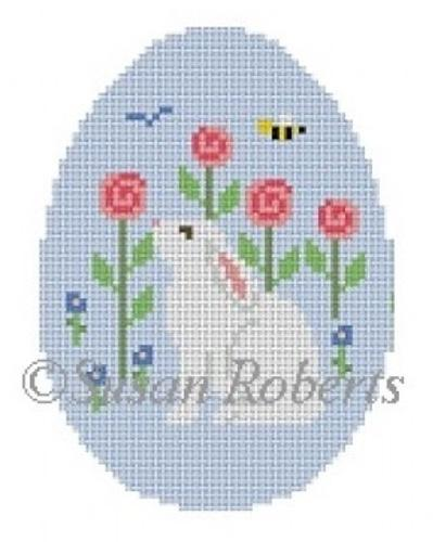 Rabbit Smell the Flowers Egg Painted Canvas Susan Roberts Needlepoint Designs Inc.