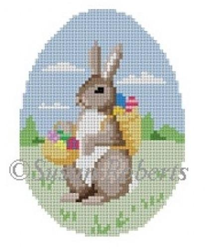 Rabbit with Egg Basket Painted Canvas Susan Roberts Needlepoint Designs, Inc.