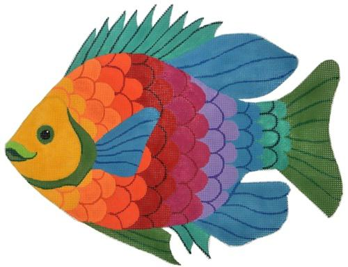 Rainbow Fish Painted Canvas Jane Nichols