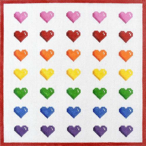 Rainbow Row of Hearts Painted Canvas Kate Dickerson Needlepoint Collections