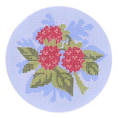 Raspberry Round Painted Canvas Abigail Cecile