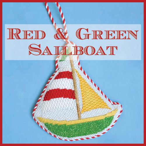 Red and Green Sailboat Online Needlepoint Class Online Course Needlepoint.Com