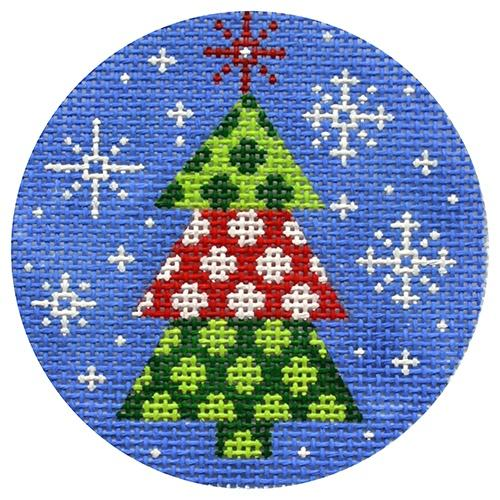Red and Green Tree Painted Canvas CBK Needlepoint Collections