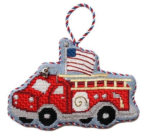 Red Fire Engine with Stitch Guide Painted Canvas Needlepoint.Com