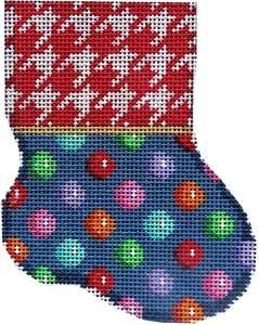 Red Houndstooth / Multi Dot Mini Sock Painted Canvas Associated Talents