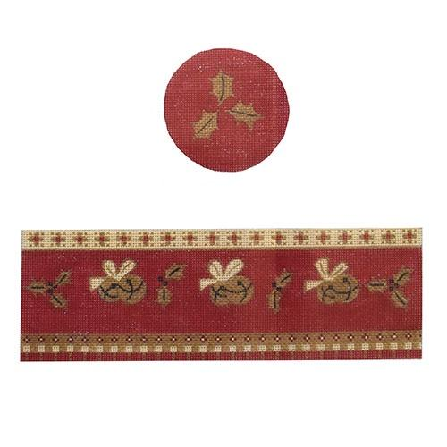 Red Jingle Hinged Box with Hardware Painted Canvas Funda Scully