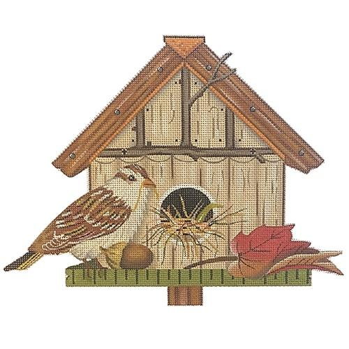 Red Leaf Birdhouse Painted Canvas Melissa Shirley Designs
