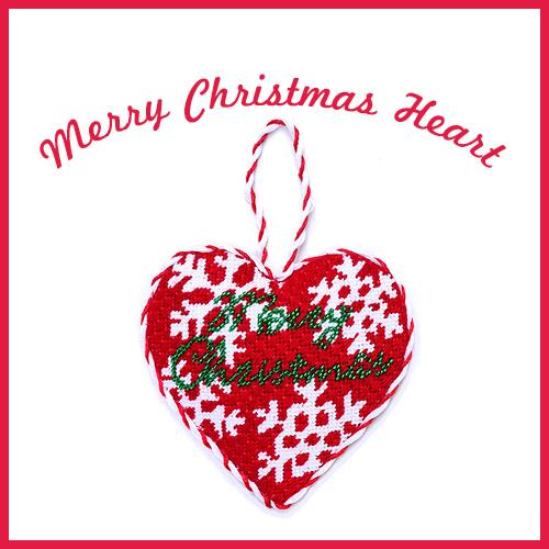Red Merry Christmas Heart Online Course Needlepoint.Com