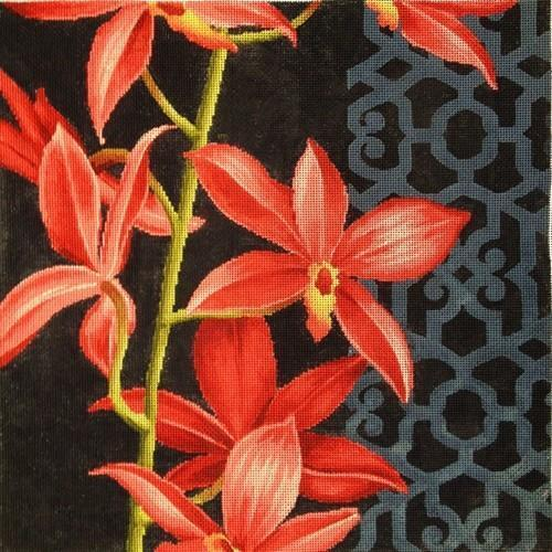Red Orchid on Black Painted Canvas Kirk & Bradley
