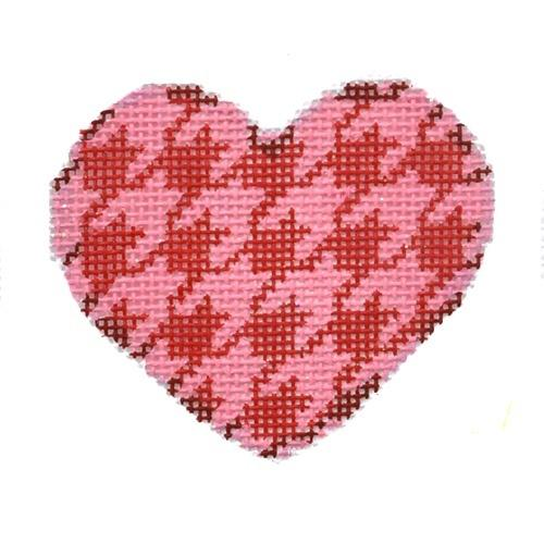 Red / Pink Houndstooth Mini Heart Painted Canvas Associated Talents