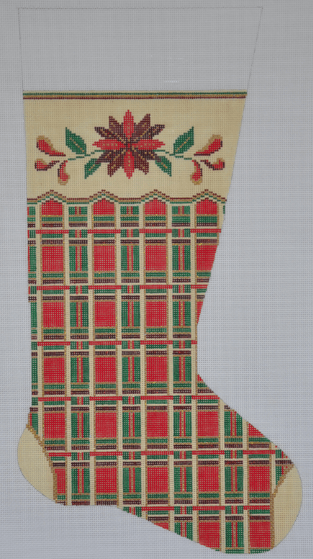 Red Plaid Poinsettia Stocking Painted Canvas Alice Peterson