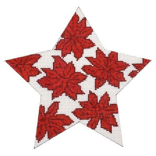 Red Poinsettia Star Painted Canvas Whimsy & Grace