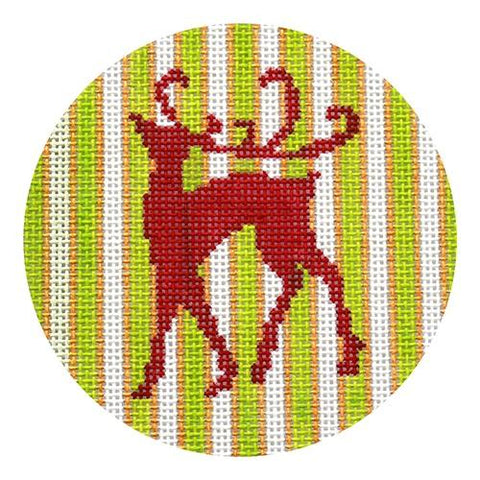 Red Reindeer on Green, Gold, & White Stripes Painted Canvas Kristine Kingston