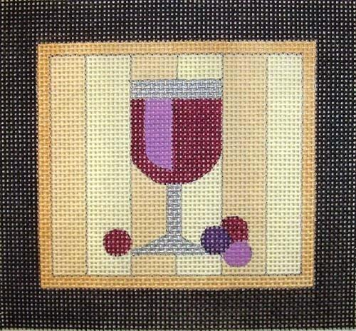 Red Wine Coaster Painted Canvas Raymond Crawford Designs