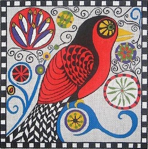 Red Winged Black Bird on 18 Painted Canvas Zecca