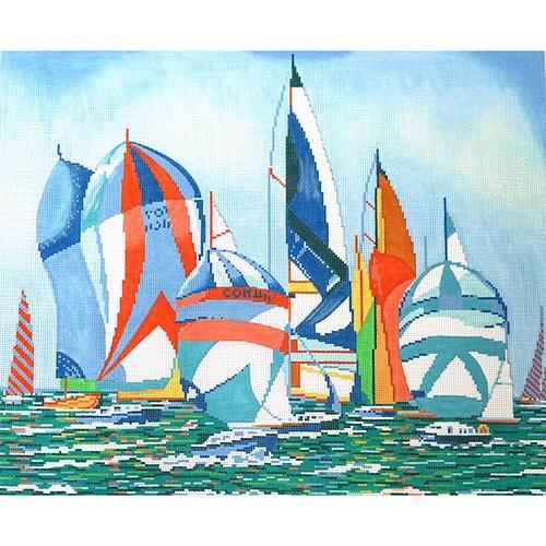 Regatta Sails Painted Canvas The Meredith Collection