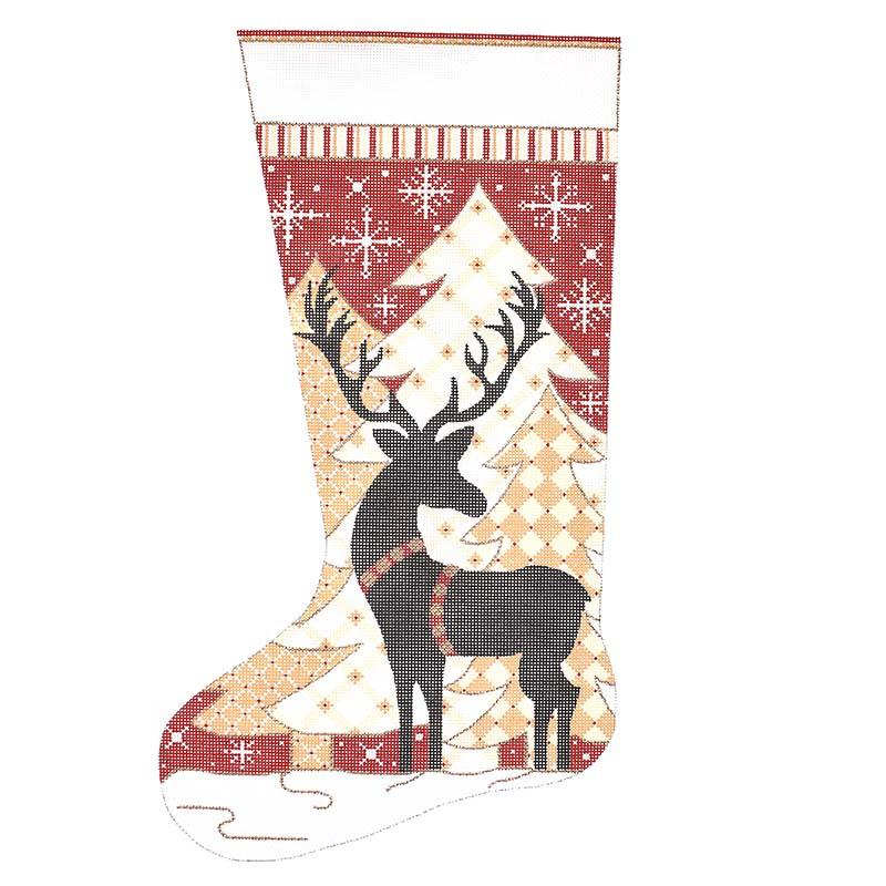 Reindeer and Trees Stocking Painted Canvas Alice Peterson Company