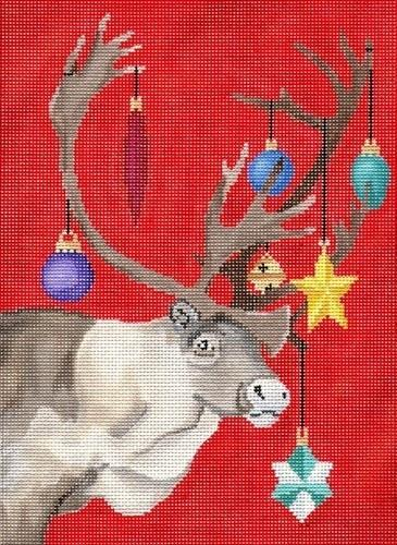 Reindeer Decorated Painted Canvas Scott Church Creative