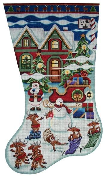 Reindeer Games Stocking on 13 Painted Canvas Rebecca Wood Designs