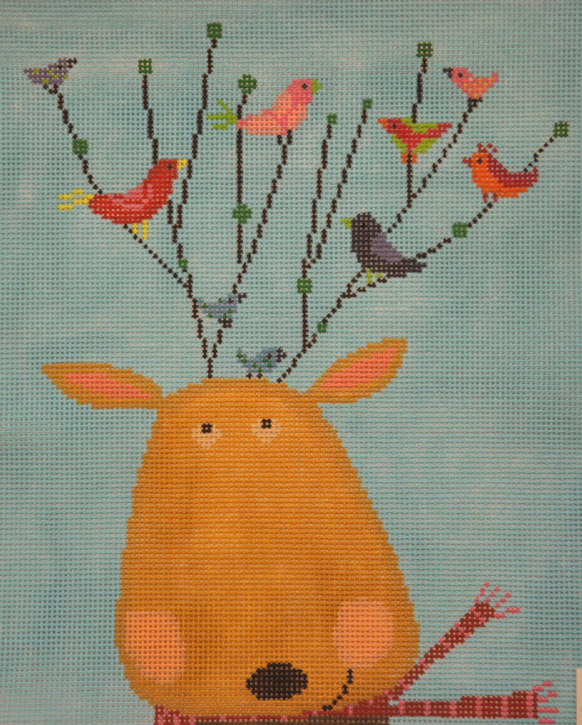 Reindeer Perch Painted Canvas Birds of a Feather