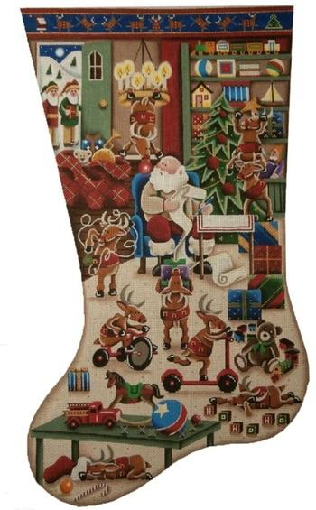 Restless Reindeer Stocking on 13 Painted Canvas Rebecca Wood Designs