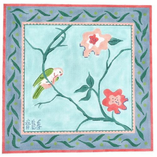 Retro Parakeet with Flowers Painted Canvas Kate Dickerson Needlepoint Collections