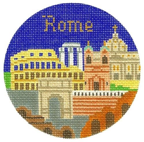 Rome Ornament Painted Canvas Silver Needle