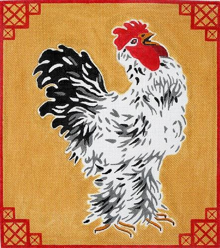 Rooster on Gold Painted Canvas Kate Dickerson Needlepoint Collections