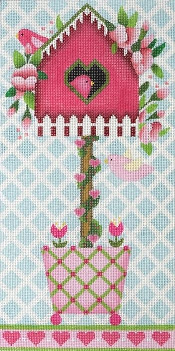 Rose Birdhouse Topiary Painted Canvas Melissa Shirley Designs