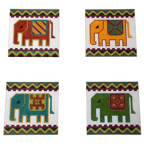 Royal Elephant Coasters Painted Canvas The Meredith Collection