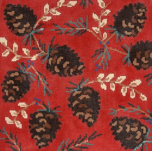 Ruby Pinecone Painted Canvas CBK Needlepoint Collections